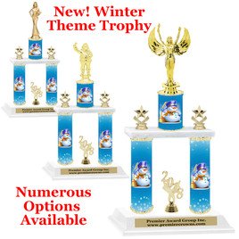 Winter theme  2-Column trophy.  Numerous trophy heights and figures available  (004