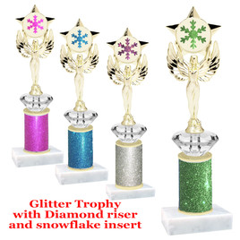 """Glitter trophy with Diamond riser and snowflake insert.  10"""" tall with choice of color.  (mf1080"""