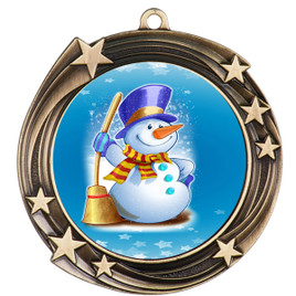 Snowman theme medal..  Includes free engraving and neck ribbon.   (930g)