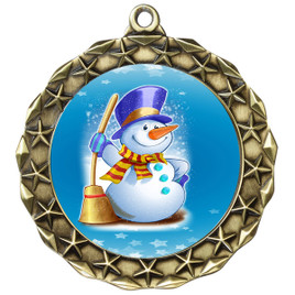 Snowman theme medal..  Includes free engraving and neck ribbon.   (md40g