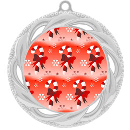 Candy Cane  theme medal..  Includes free engraving and neck ribbon.  938s