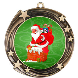 Santa  theme medal..  Includes free engraving and neck ribbon.   930g
