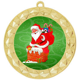 Santa  theme medal..  Includes free engraving and neck ribbon.   935g2