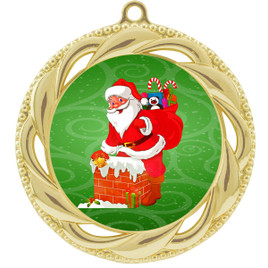 Santa  theme medal..  Includes free engraving and neck ribbon.   938g