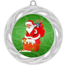 Santa  theme medal..  Includes free engraving and neck ribbon.   938s