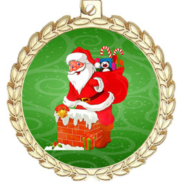 Santa  theme medal..  Includes free engraving and neck ribbon.   m70