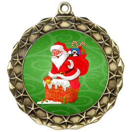 Santa  theme medal..  Includes free engraving and neck ribbon.   md40g
