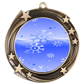 Snowflake theme medal..  Includes free engraving and neck ribbon.   blue4-930
