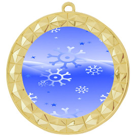 Snowflake theme medal..  Includes free engraving and neck ribbon.   blue4-935g