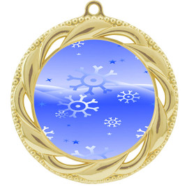 Snowflake theme medal..  Includes free engraving and neck ribbon.   blue4-938g