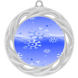 Snowflake theme medal..  Includes free engraving and neck ribbon.   blue4-938s