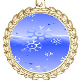 Snowflake theme medal..  Includes free engraving and neck ribbon.   blue4-m70