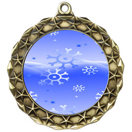 Snowflake theme medal..  Includes free engraving and neck ribbon.   blue4-md40g