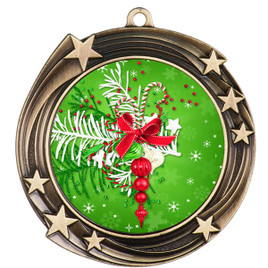 Holiday theme medal..  Includes free engraving and neck ribbon.   decor-930