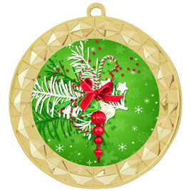 Holiday theme medal..  Includes free engraving and neck ribbon.   decor-935g
