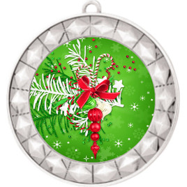 Holiday theme medal..  Includes free engraving and neck ribbon.   decor-935s