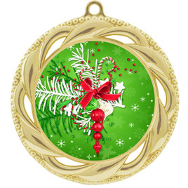 Holiday theme medal..  Includes free engraving and neck ribbon.   decor-938g