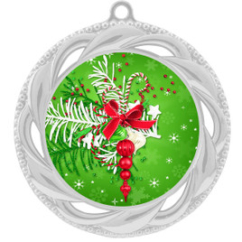 Holiday theme medal..  Includes free engraving and neck ribbon.   decor-938s