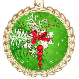 Holiday theme medal..  Includes free engraving and neck ribbon.   decor-m70