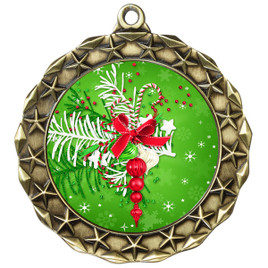 Holiday theme medal..  Includes free engraving and neck ribbon.   decor-md40g