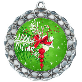 Holiday theme medal..  Includes free engraving and neck ribbon.   decor-md40s