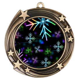 Snowflake theme medal..  Includes free engraving and neck ribbon.   BLsnow-930