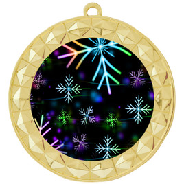 Snowflake theme medal..  Includes free engraving and neck ribbon.   BLsnow-935g