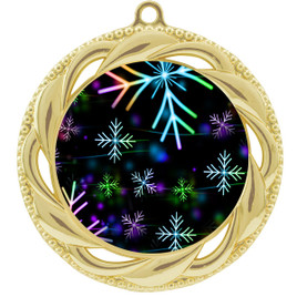 Snowflake theme medal..  Includes free engraving and neck ribbon.   BLsnow-938g