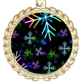 Snowflake theme medal..  Includes free engraving and neck ribbon.   BLsnow-m70