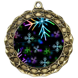 Snowflake theme medal..  Includes free engraving and neck ribbon.   BLsnow-md40g