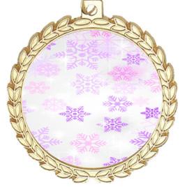 Snowflake theme medal..  Includes free engraving and neck ribbon.   Psnow-m70