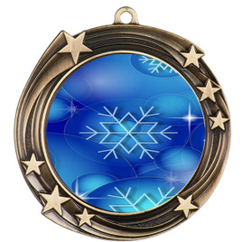 Snowflake theme medal..  Includes free engraving and neck ribbon.   DkBsnow-930