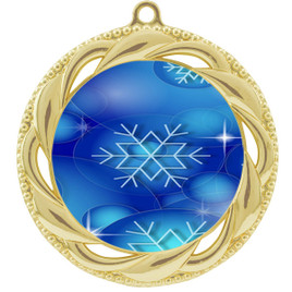 Snowflake theme medal..  Includes free engraving and neck ribbon.   DkBsnow-938g