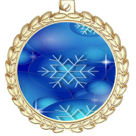 Snowflake theme medal..  Includes free engraving and neck ribbon.   DkBsnow-m70