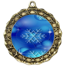 Snowflake theme medal..  Includes free engraving and neck ribbon.   DkBsnow-md40g
