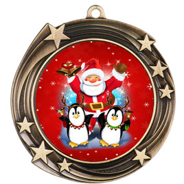 Santa and Penguins  theme medal..  Includes free engraving and neck ribbon.   santapeng-930