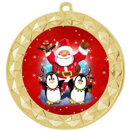 Santa and Penguins  theme medal..  Includes free engraving and neck ribbon.   santapeng-935g