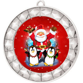 Santa and Penguins  theme medal..  Includes free engraving and neck ribbon.   santapeng-935s