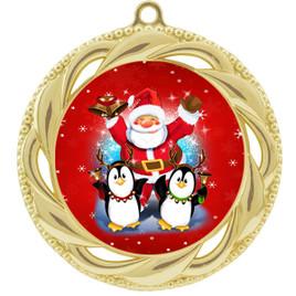 Santa and Penguins  theme medal..  Includes free engraving and neck ribbon.   santapeng-938g
