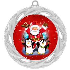 Santa and Penguins  theme medal..  Includes free engraving and neck ribbon.   santapeng-938s