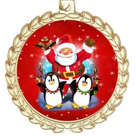 Santa and Penguins  theme medal..  Includes free engraving and neck ribbon.   santapeng-m70