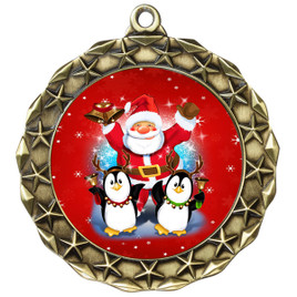 Santa and Penguins  theme medal..  Includes free engraving and neck ribbon.   santapeng-md40g