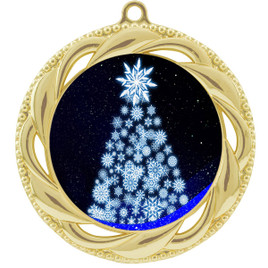 Snowflake Tree  theme medal..  Includes free engraving and neck ribbon.   snowtree-938g