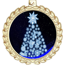 Snowflake Tree  theme medal..  Includes free engraving and neck ribbon.   snowtree-m70