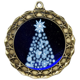 Snowflake Tree  theme medal..  Includes free engraving and neck ribbon.   snowtree-md40g