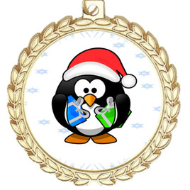 Penguin  theme medal..  Includes free engraving and neck ribbon.   penguin-m70