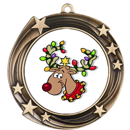 Reindeer  theme medal..  Includes free engraving and neck ribbon.   reindeer 930
