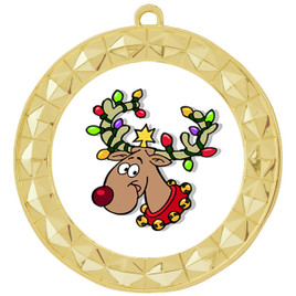 Reindeer  theme medal..  Includes free engraving and neck ribbon.   reindeer 935g