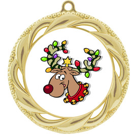 Reindeer  theme medal..  Includes free engraving and neck ribbon.   reindeer 938