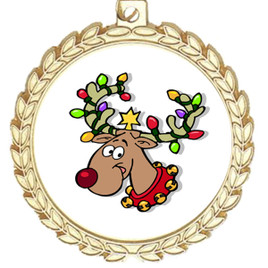 Reindeer  theme medal..  Includes free engraving and neck ribbon.   reindeer m70